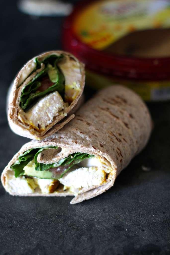 Turmeric Harissa Chicken Hummus Wraps