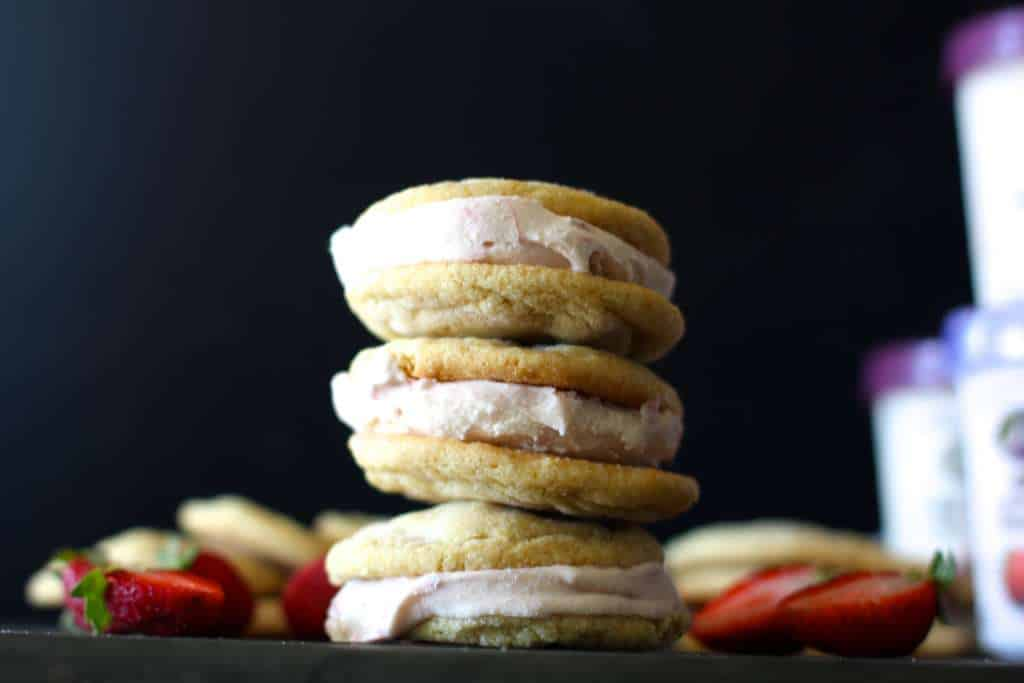 Sweet Corn and Strawberry Ice Cream Sandwiches