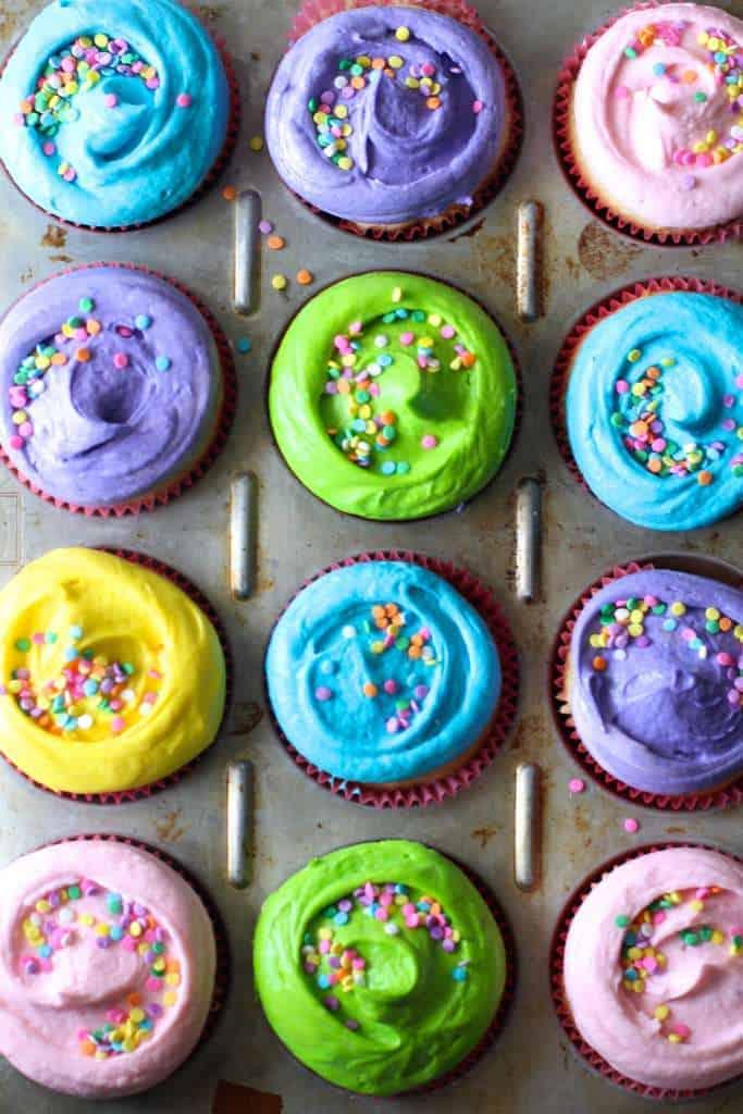 Fun Rainbow Vanilla Cupcakes