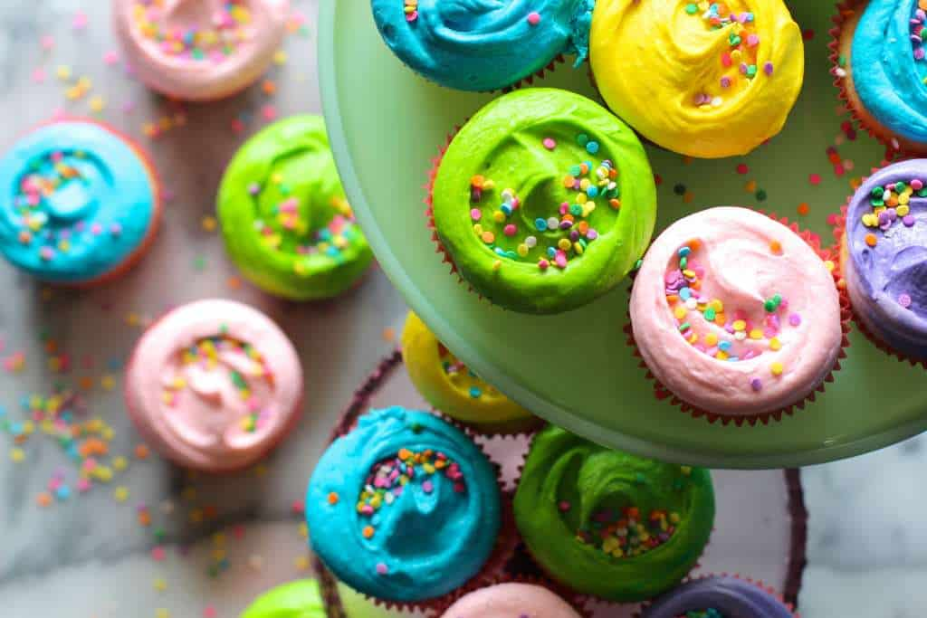 Colorful Vanilla Bean Cupcakes