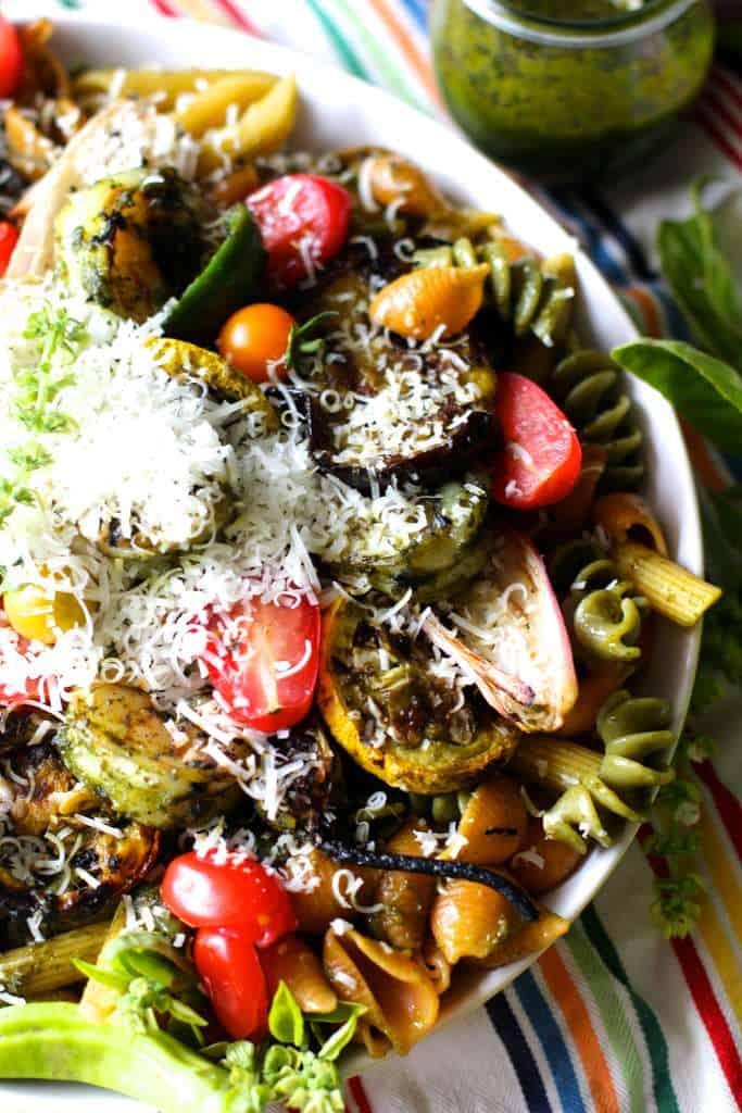 Summer Vegetable and Grilled Shrimp Pasta