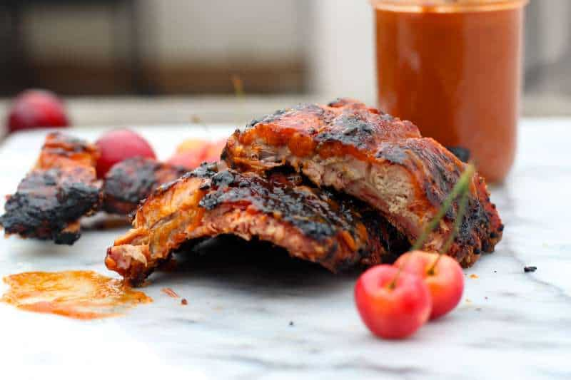 Cherry Plum BBQ Sauce Marinated Ribs