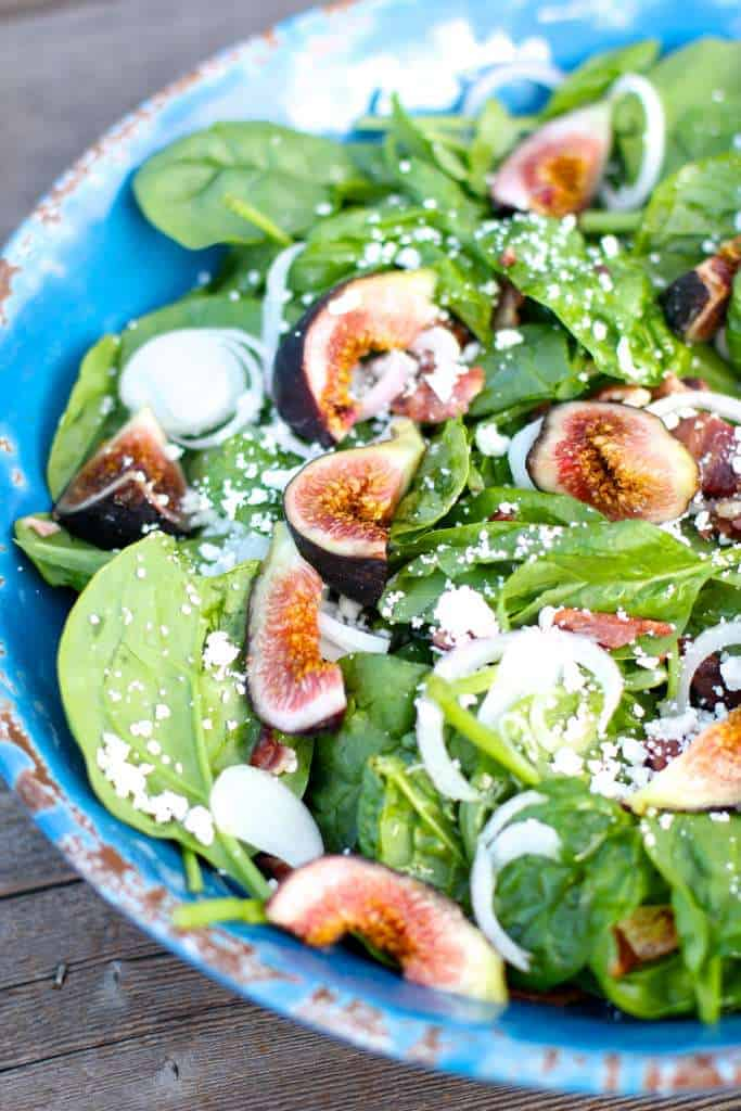 Spinach Fig Bacon Salad with a Champagne Dressing