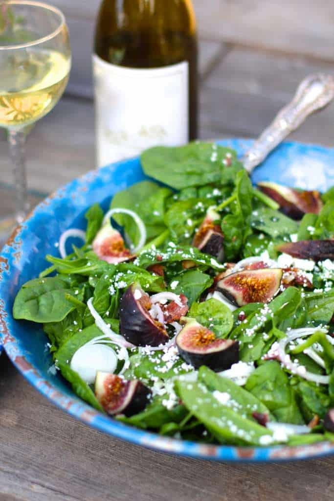 Spinach Fig Bacon Salad with a champagne dressing and goat cheese