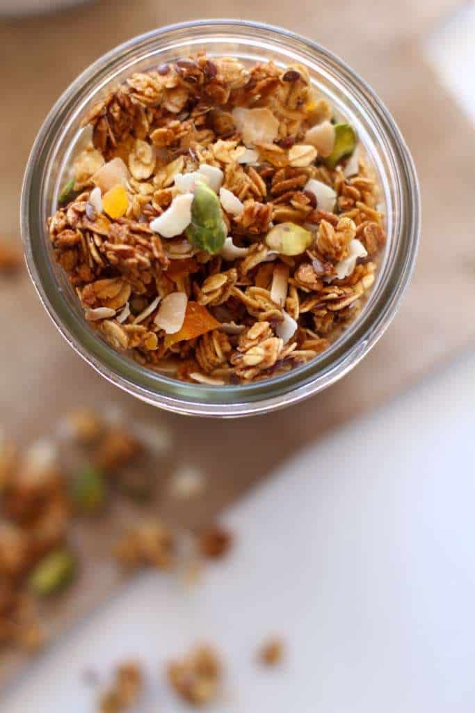 Cardamom Apricot Granola with Coconut and Pistashios