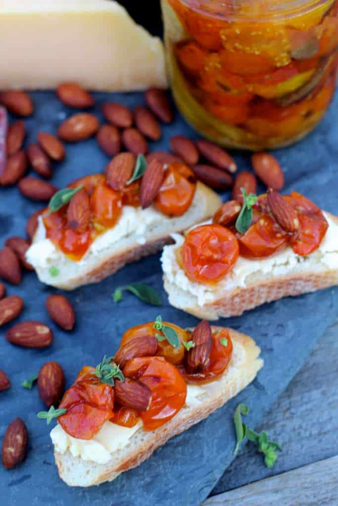Marinated Tomato Almond Bruschetta