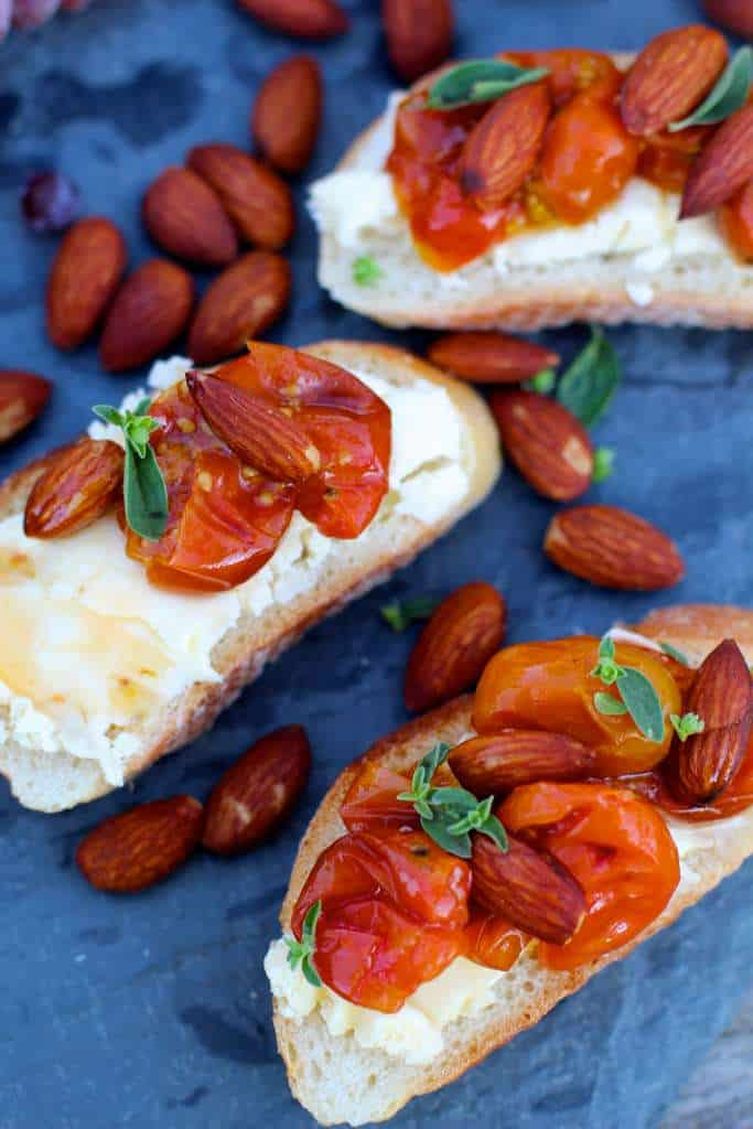 Tomato Almond Brie Bruschetta