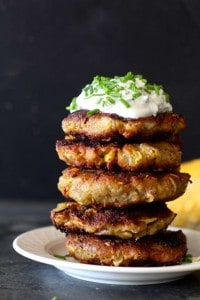 Yellow Squash Cakes with an Herb Studded Sour Cream
