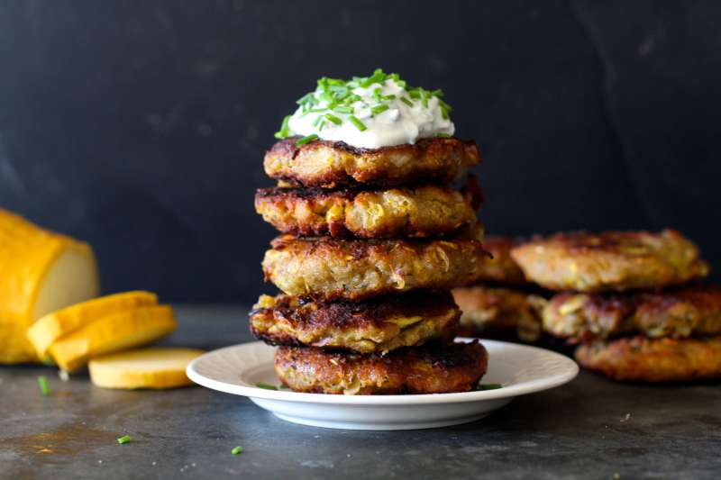 Delicious Yellow Squash Cakes with herb studded sour cream