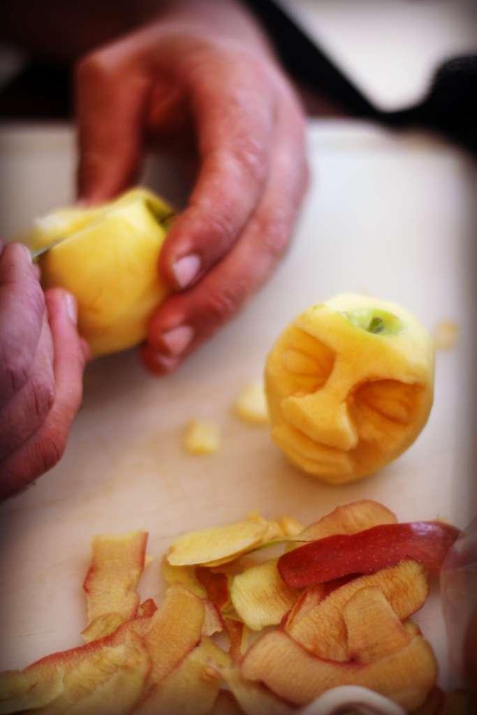Carving Shrunken Apple Heads