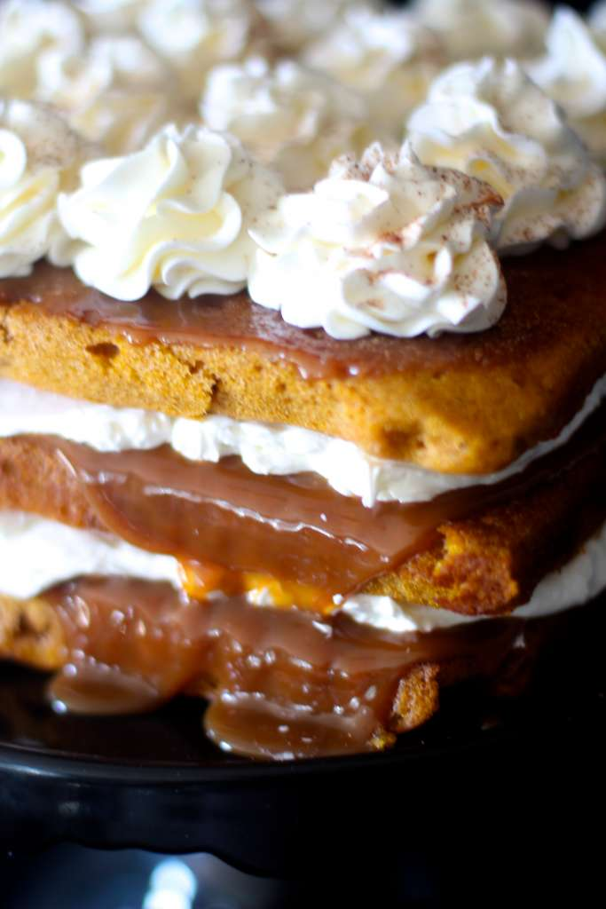 Delicious layers of pumpkin cake, dulce de leche, and light cream cheese frosting