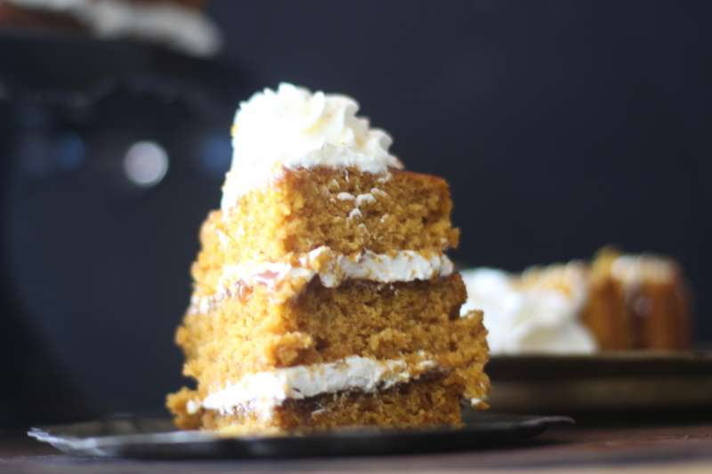 Pumpkin Spice cake layered with Dulce de Leche and Cream Cheese Frosting