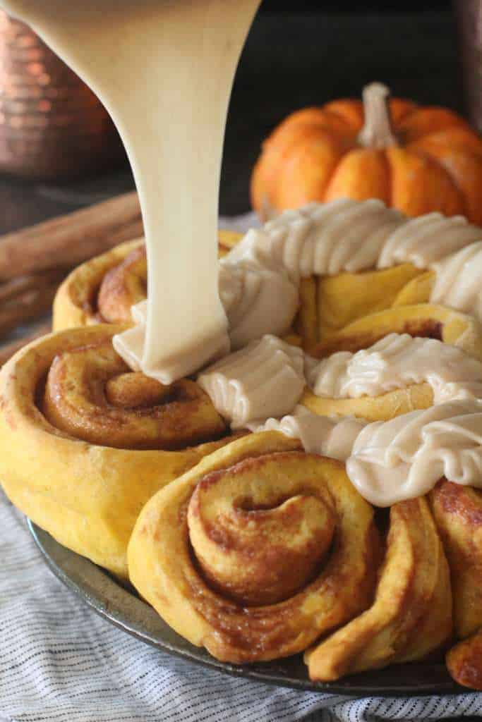 Pumpkin Cinnamon Rolls with Brown Butter Frosting