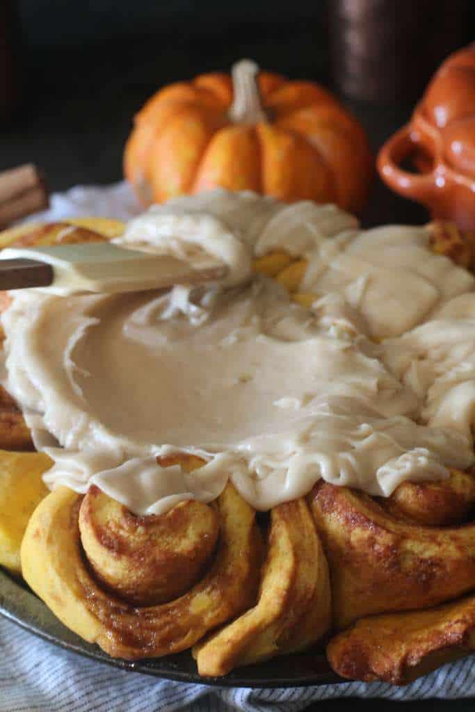 Icing Pumpkin Cinnamon Rolls