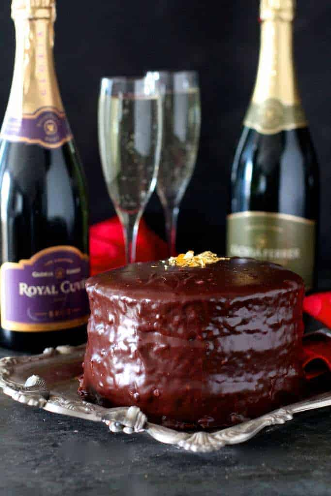 Champagne Ganache Covered Cake