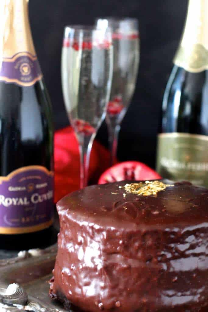 Champagne Cake covered in Silky Ganache