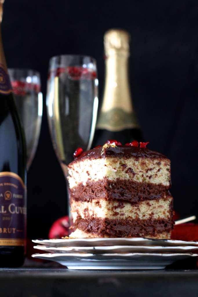 The Perfect Slice- Ganache Covered Champagne Cake