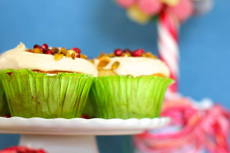 Low sugar Pistachio Pomegranate Cupcakes
