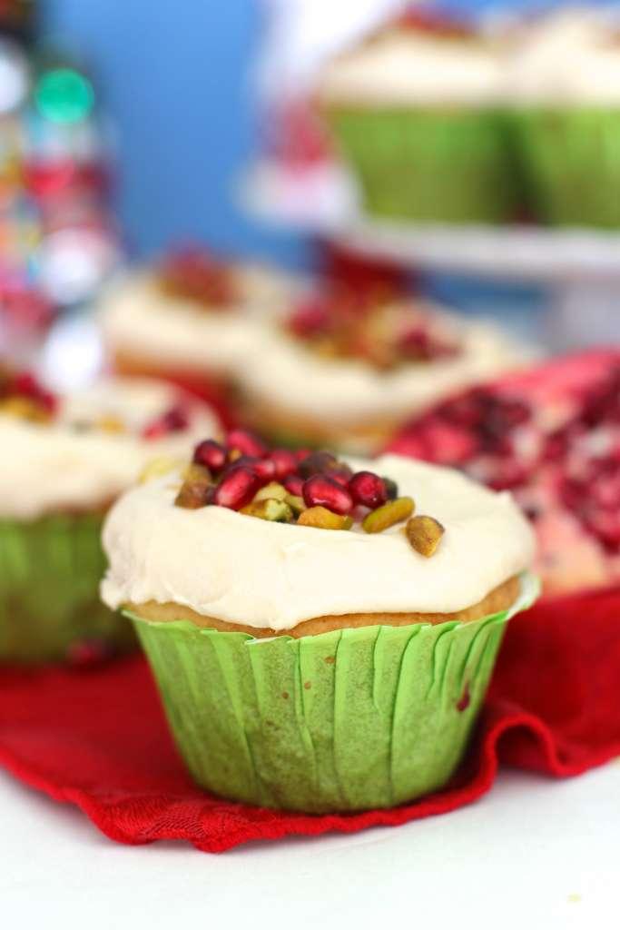 Winter Pistachio Pomegranate Cupcakes