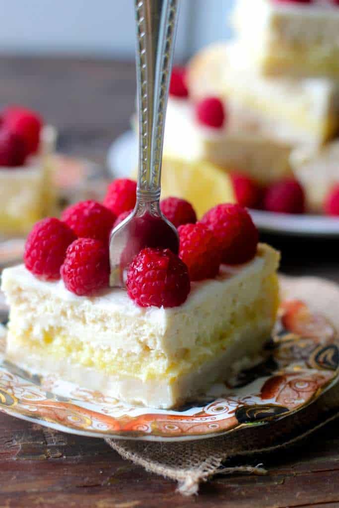 Cheesecake Lemon Bars with Raspberries