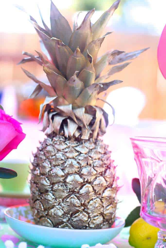 Gold Spray Painted Pineapple