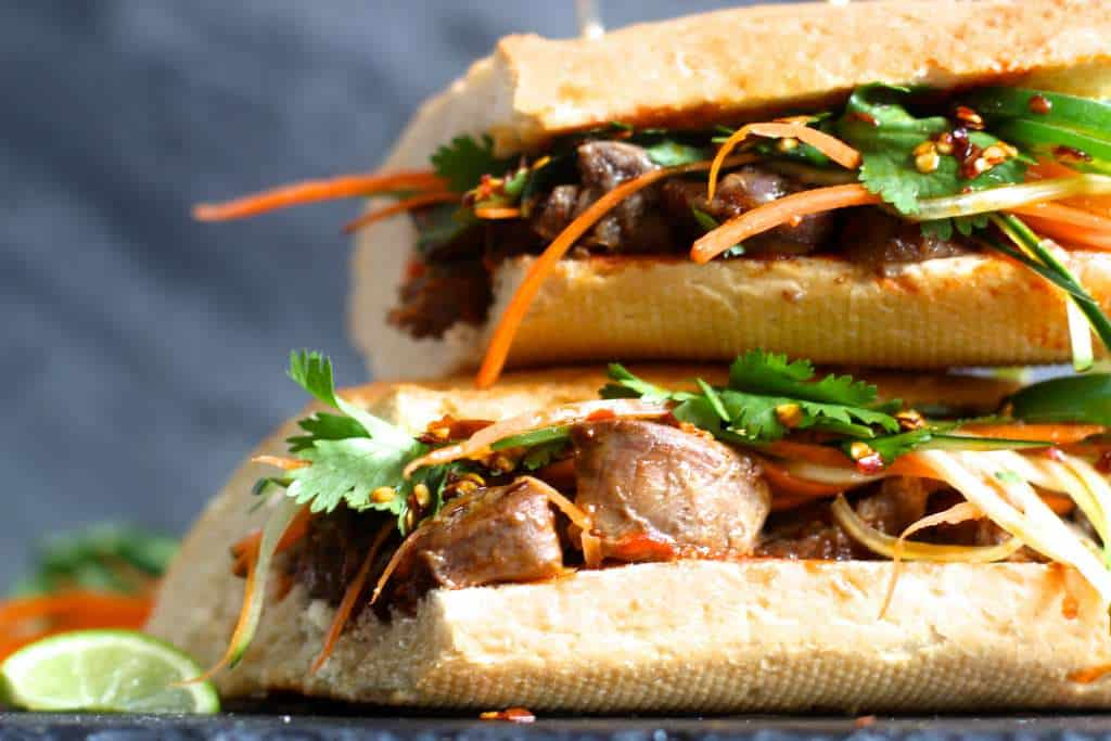 Up close and personal with a delicious Bahn Mi Sandwich