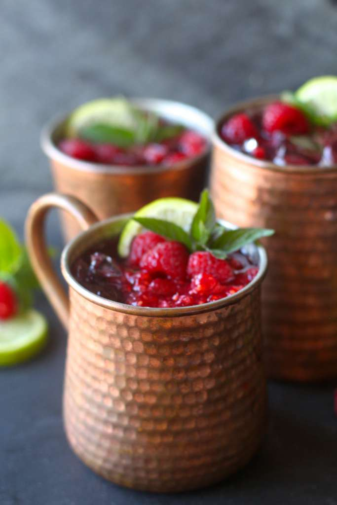 Homemade Ginger Beer and Raspberry Moscow Mules