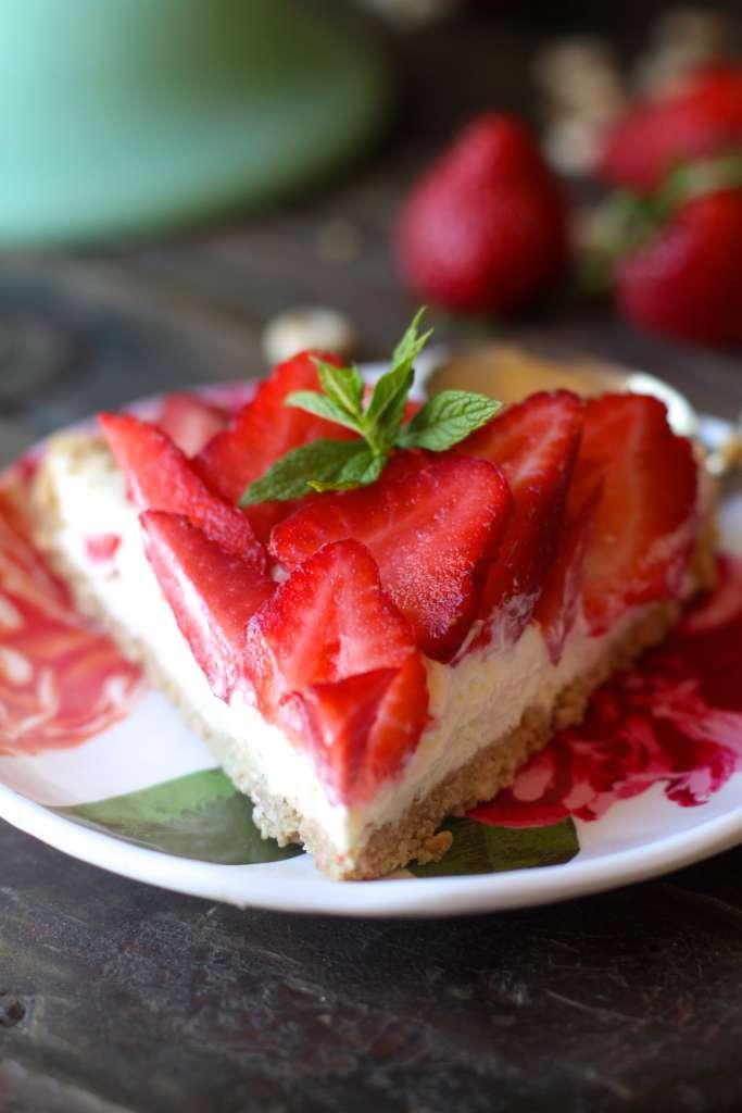 Slice of Strawberry No Bake Cheesecake