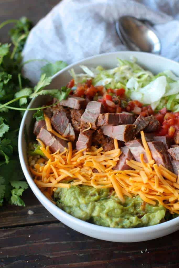 Steak Brown Rice Taco Bowls