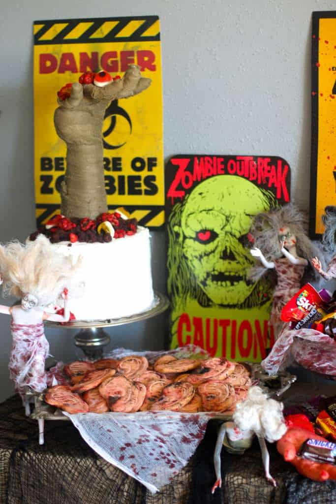 Zombie Cake with Candied Walnut Brains