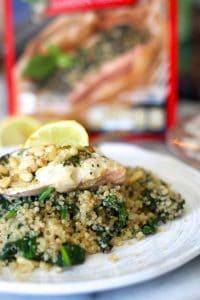 Pesto Salmon with Spinach Garlic Quinoa