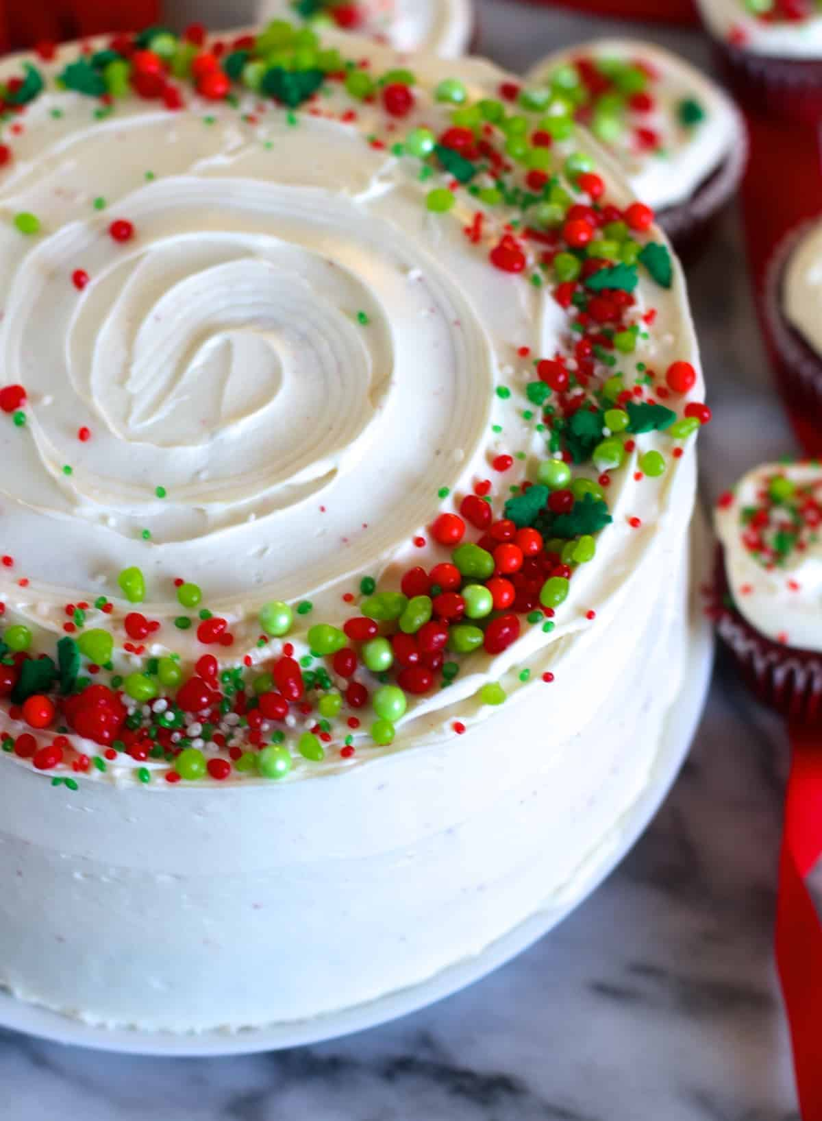 Red Velvet Christmas Cake with Cream Cheese Frosting