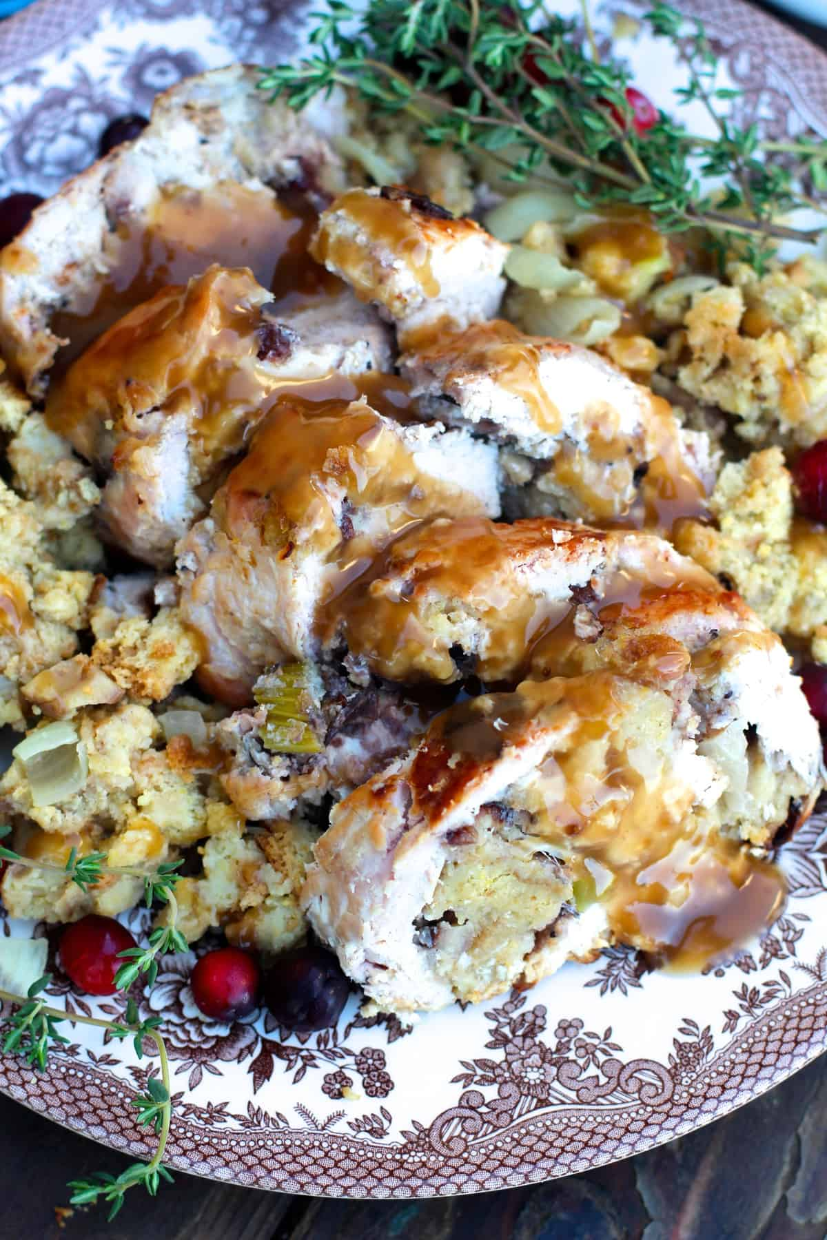 Thanksgiving Turkey Roulade with Cornbread Stuffing