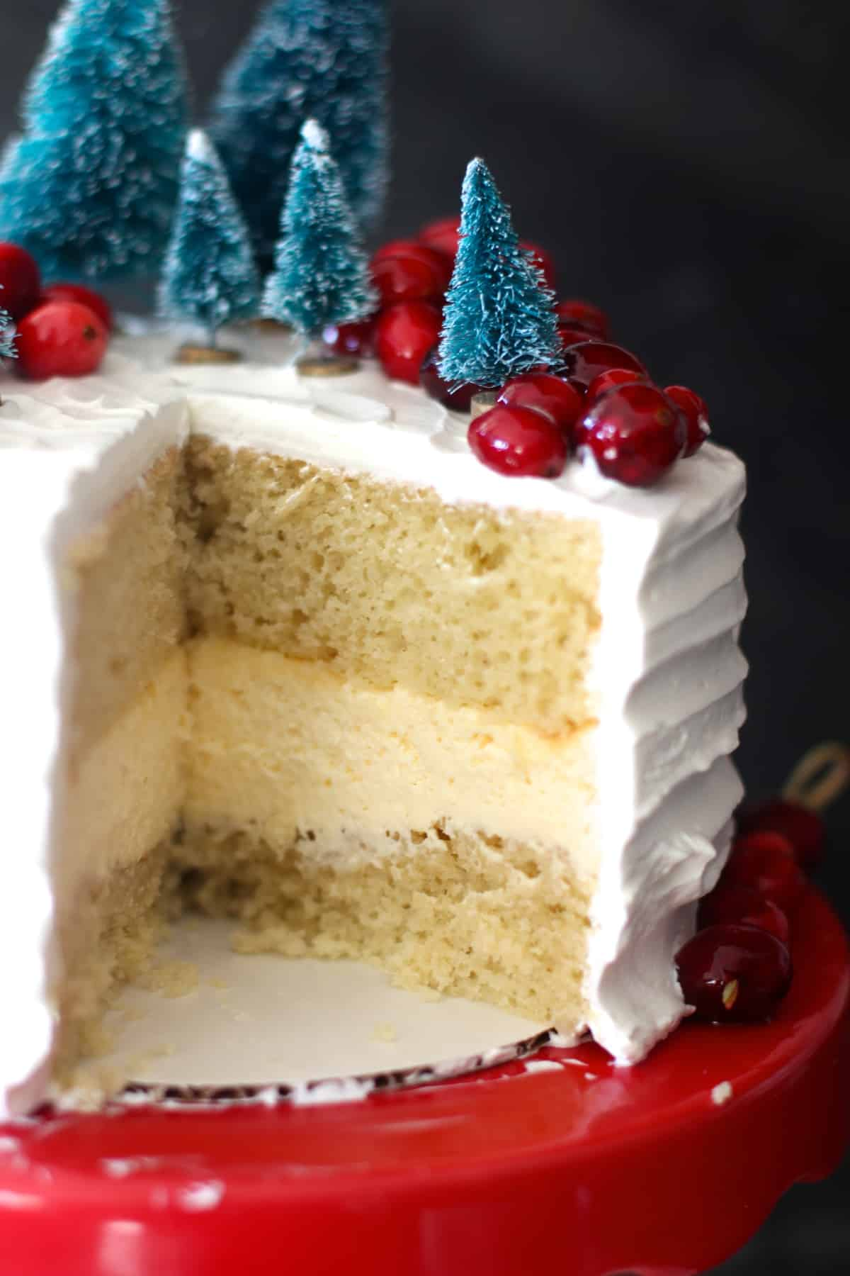 Cheesecake Filled Eggnog Cake