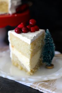 Eggnog Cake with Cheesecake Filling