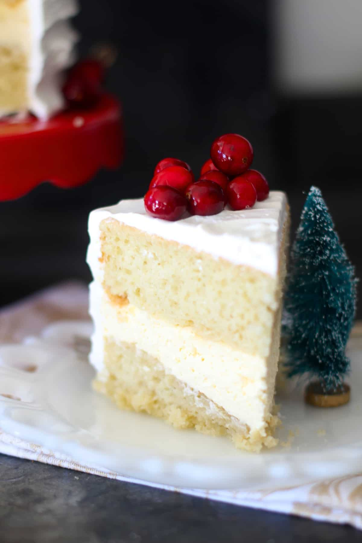 Eggnog Cheesecake Filled Cake