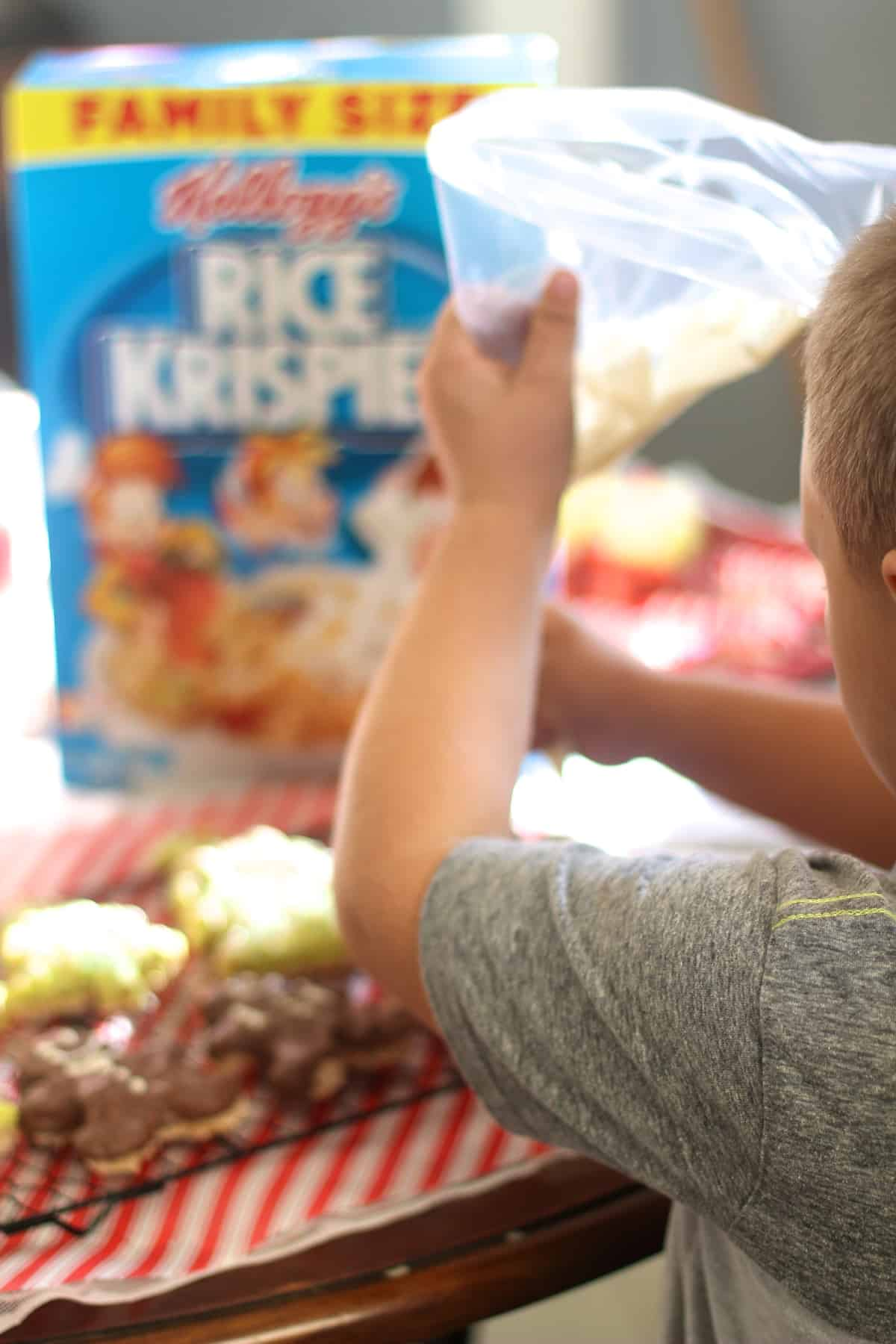Decorating the Rice Krispies Cut-Outs