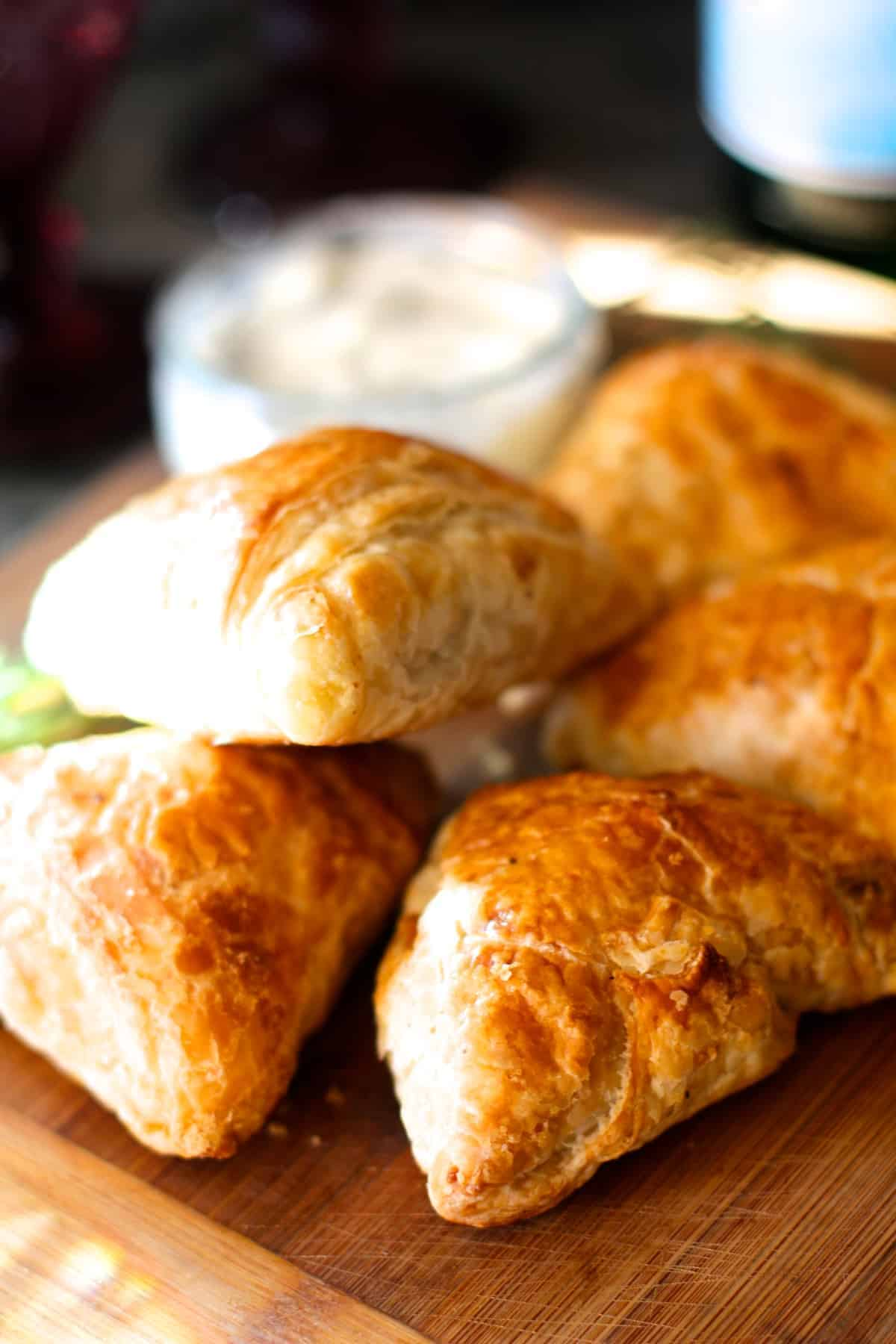 Lamb and Mushroom Puff Pastry Triangles