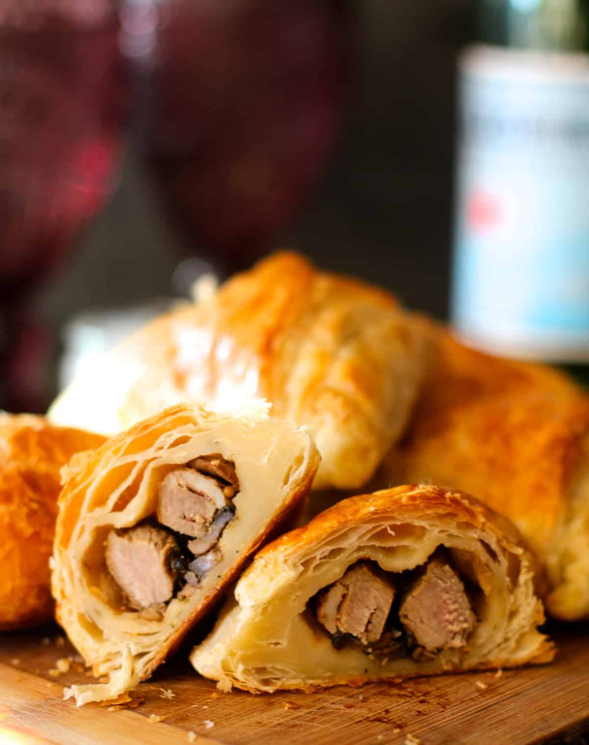 Lamb and mushroom puff pastry triangles with rosemary garlic dipping sauce