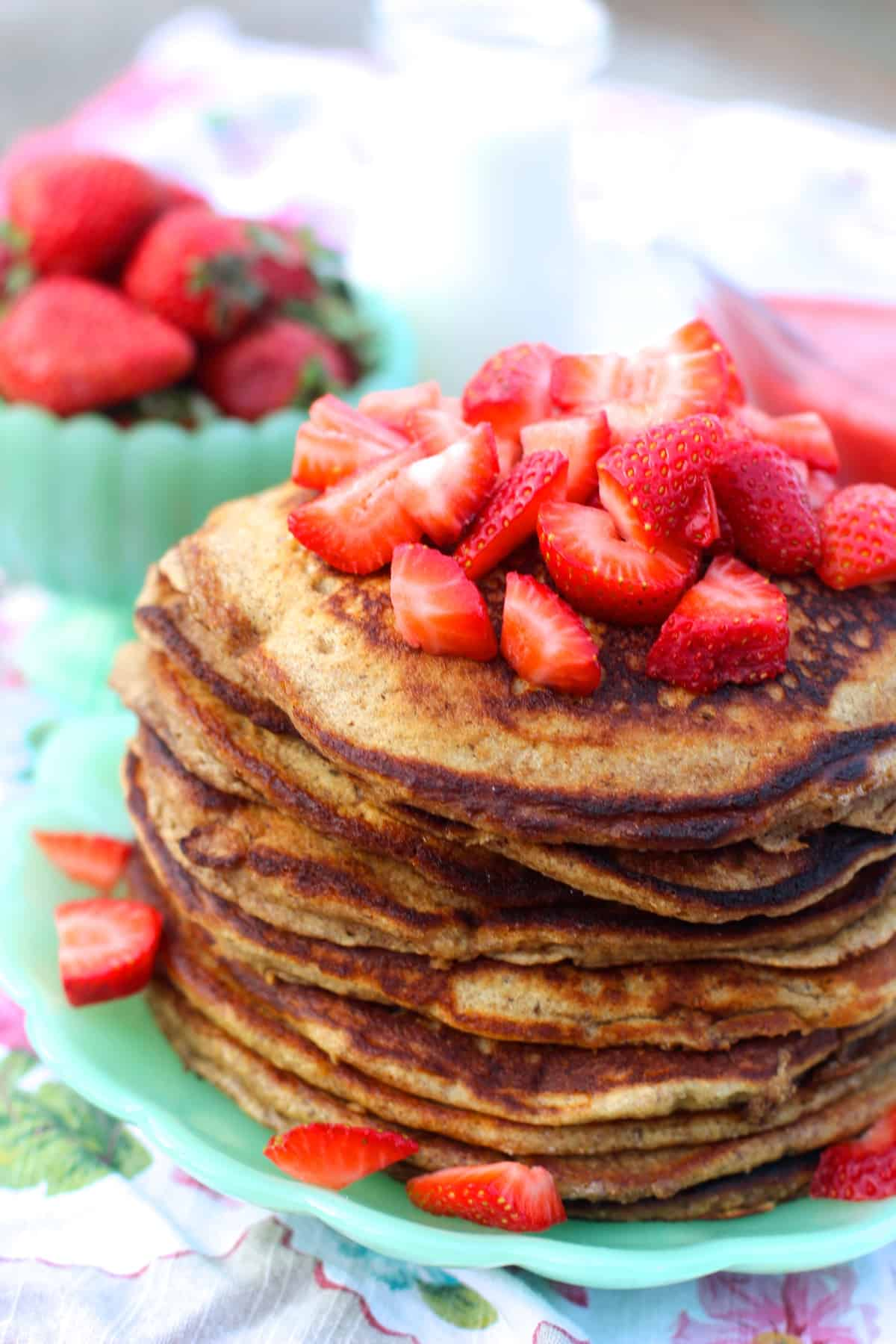 Whole wheat pancakes with fresh strawberry syrup