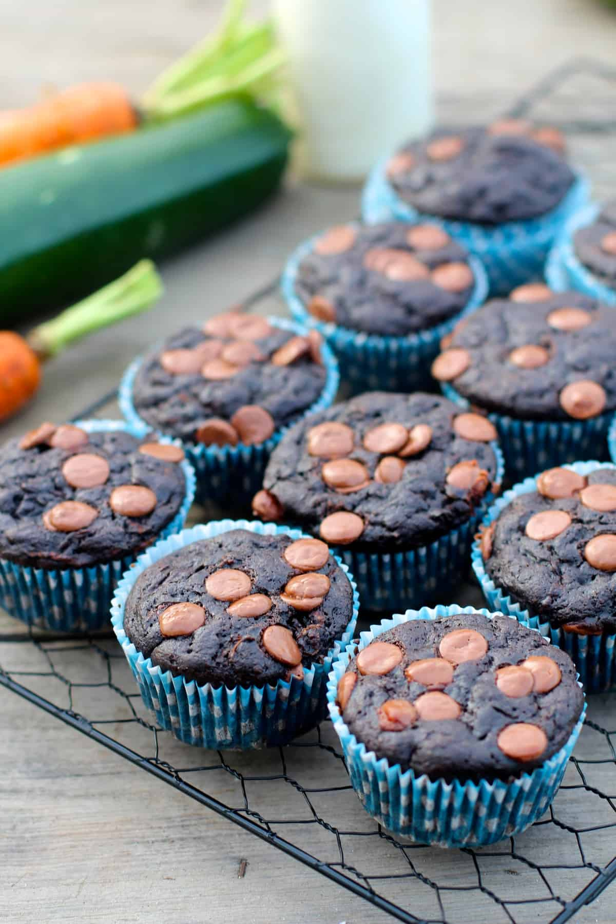 Healthy Whole Wheat Carrot Zucchini Chocolate Muffins