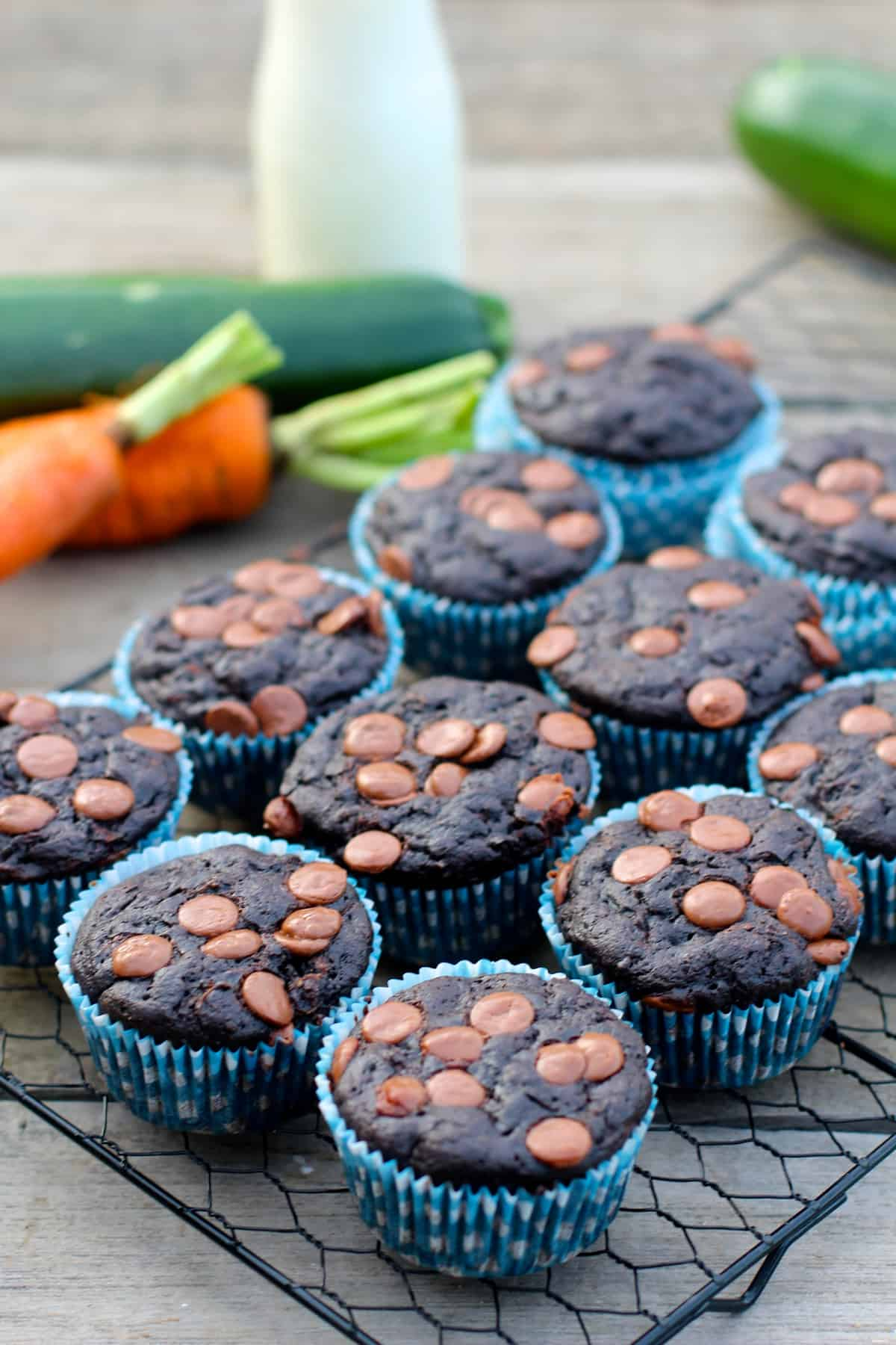Healthy Carrot Zucchini Chocolate Muffins