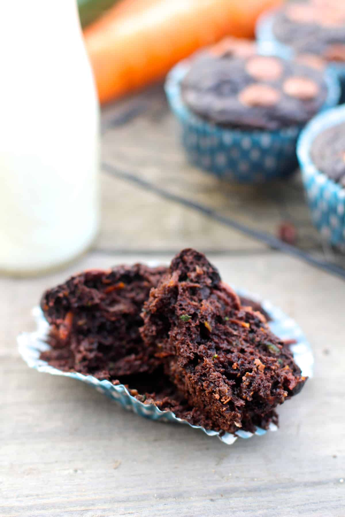 Decadent Chocolate Muffins made with whole wheat flour, flaxseed, carrots and zucchini