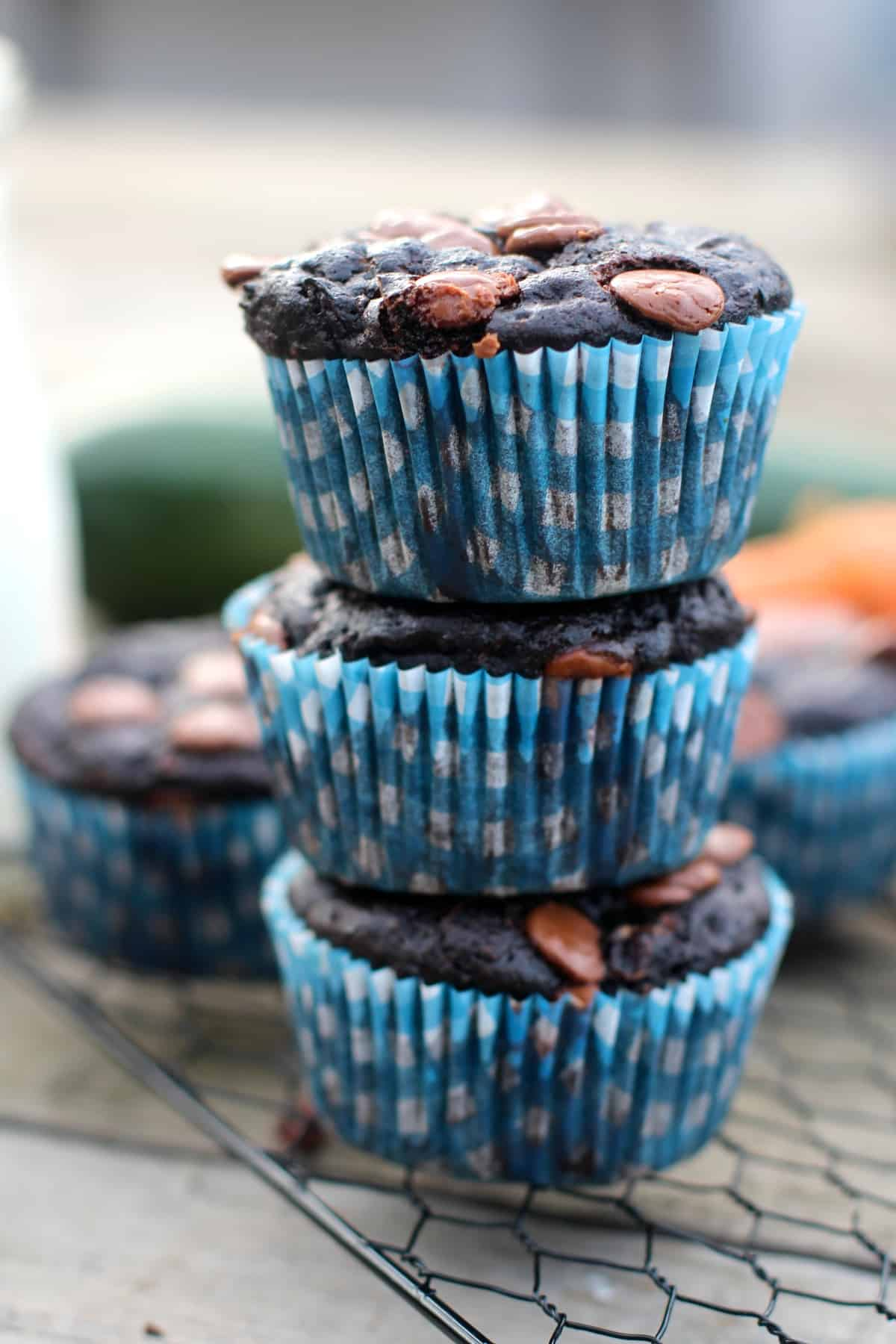 Decadent chocolate muffins studded with carrots and zucchini
