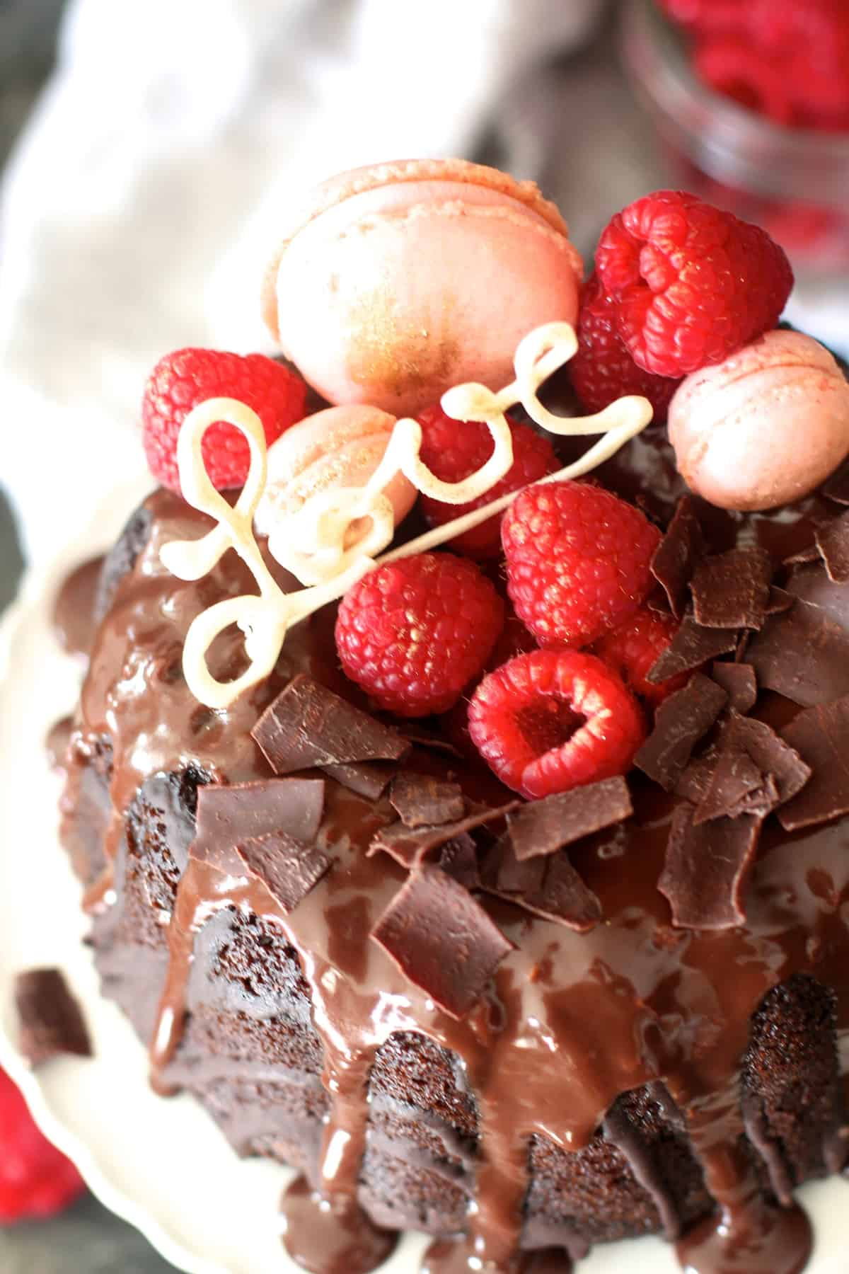 Raspberry Chocolate Valentine's Day Bundt Cake