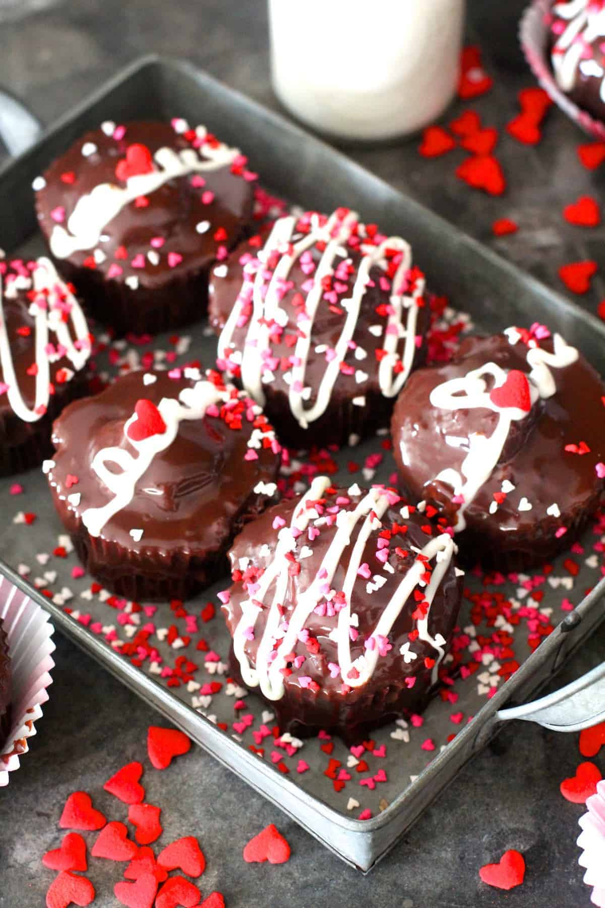 Fun Chocolate Creme Filled Valentine's Day Cupcakes