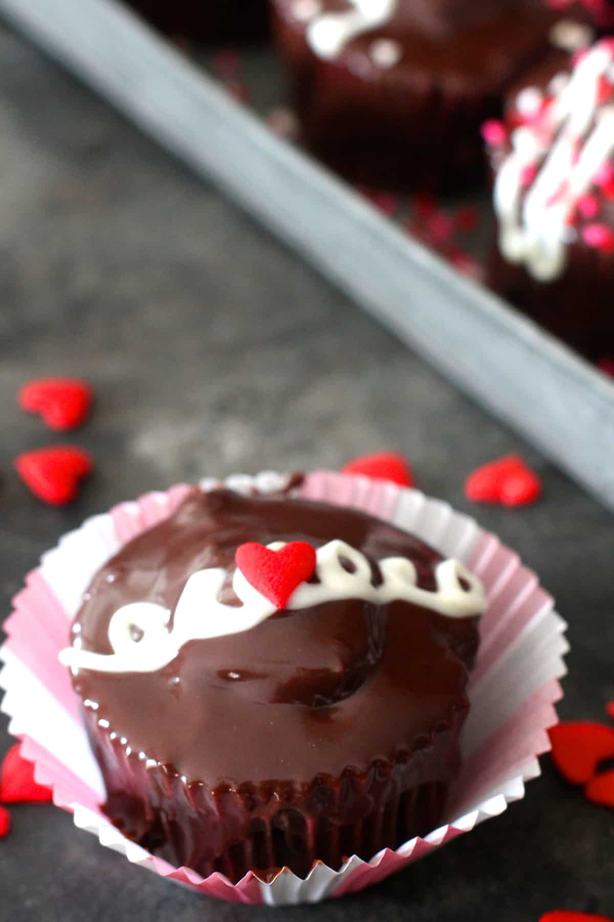 Perfect Valentine's Day Creme Filled Chocolate Cupcakes