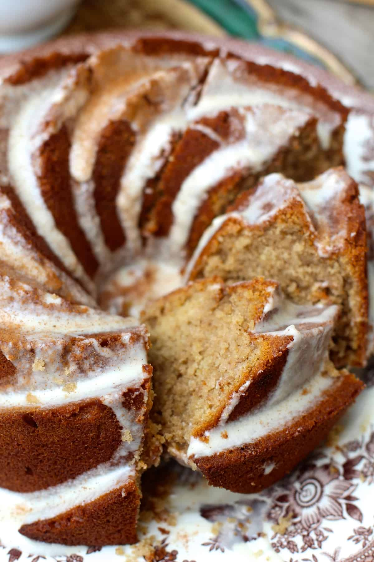 Slice of warm and cozy Vanilla Chai Bundt Cake