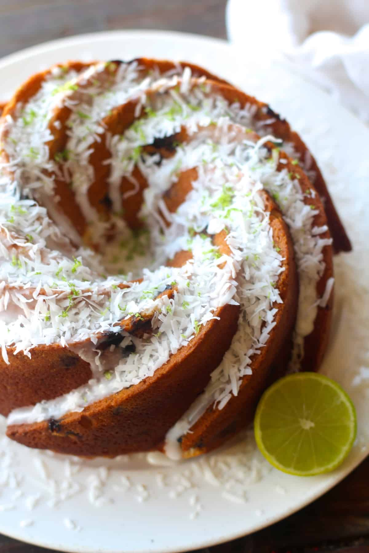 Blueberry Lime Coconut Bundt Cake