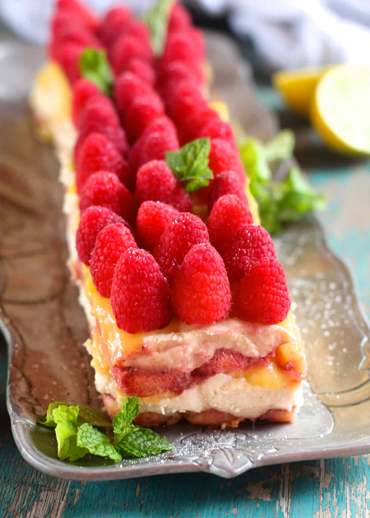 Combining the perfect spring flavors, this Raspberry Lemon Curd Tiramisu is perfect!